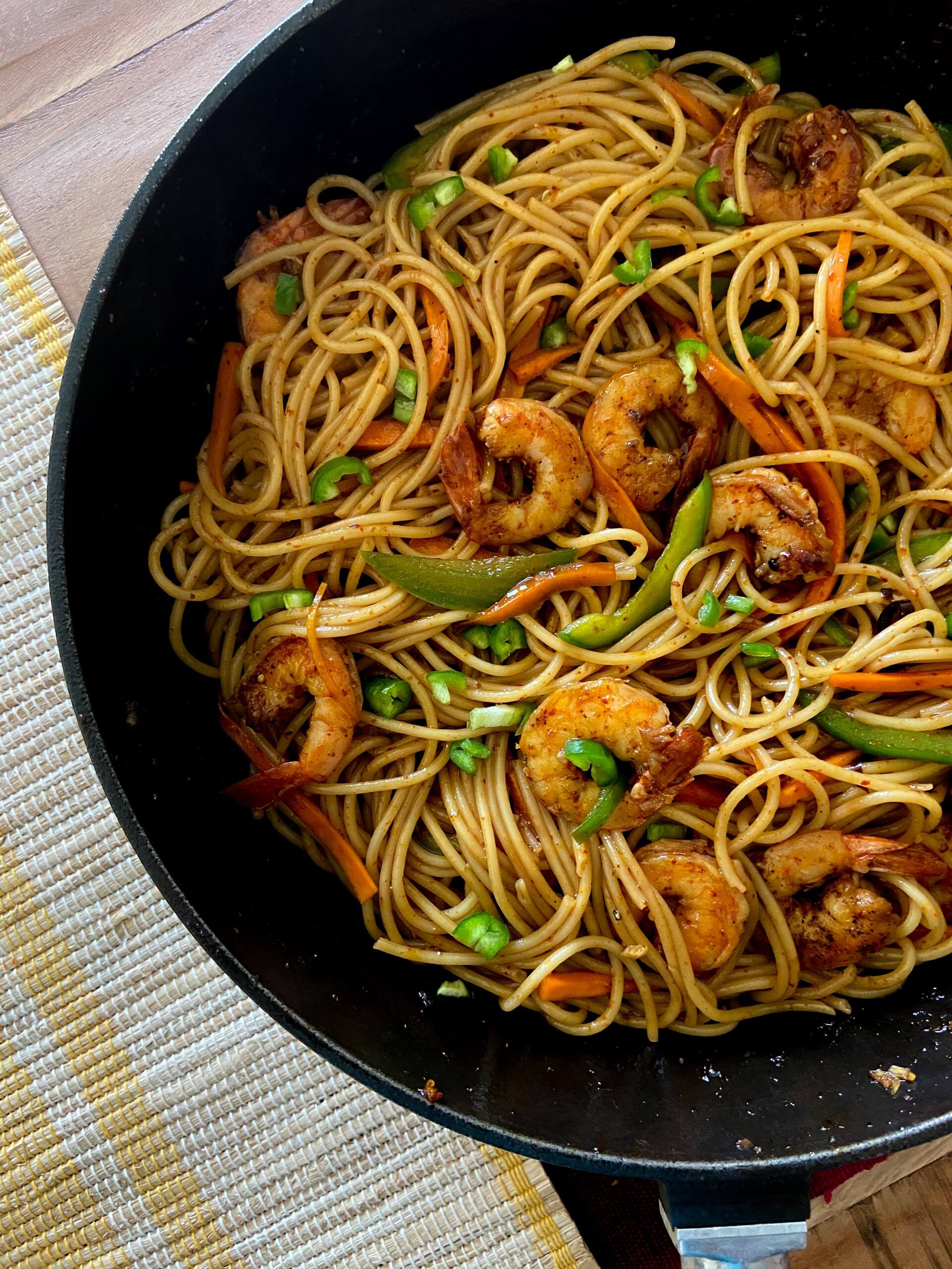 Hot and Sweet Prawn Noodles
